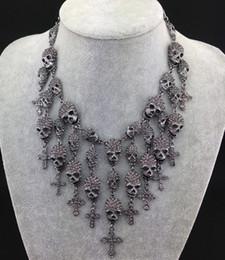 Skull Head Skeleton Cross tassel statement Necklace Costume Jewelry European Silver Gun Black Plated Alloy clear pink Rhinestone