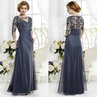 DH Gate Hot Sell V- Neck 3 4 Lace Sleeve Mother Of the Bride ...