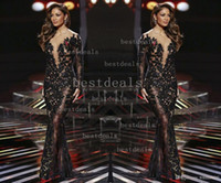 sheer lace celebrity dresses sexy illusion crew neck long sl...