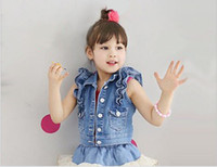 Wholesale New Arrival Fall Children Waistcoat High Quality Pure Denim Girl Vest Jacket Hemming Kids Denim Waistcoat Outwear GX625