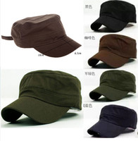 Newsboy Hat military caps hats - 1 pc Fashion New Plain Vintage Army Military Cadet Style Cotton Cap Hat Adjustable CA03014