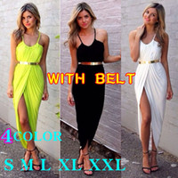 Wholesale With Belt Plus Size S XXL Top Fasion Women Summer Sleeveless Round Collar Off the shoulder Irregular Solid Color Dress