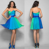 Wholesale 2014 Hot Sale Sweetheart Summer Homecoming Graduation Dresses Colorful Short Mini Ruffle Party Gown For Special Occasion