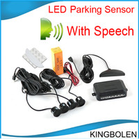 Wholesale 4 Parking Sensors LED Display Car Parking Sensor System with human speaker Car Reverse Backup Radar Kit color choices