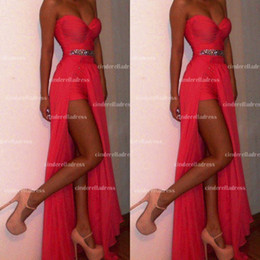 Wholesale 2014 Prom Dresses Summer Beach Chiffon Red Coral Sexy Sweetheart Bead Wasit High Slit Floor Length Party Evening Bridesmaid Dresses BO4885