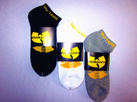 Men ankle socks black - WU TANG Bat LOGO Black Grey White Ankle Crew Double Layer Terry Thicker Socks for Skateboarding Outdoor Sports