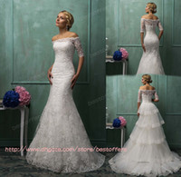 Trumpet/Mermaid Reference Images Spaghetti strapless wedding dress with 1 2 half sleeves buttons sheer lace bolero Appliques stack up detach tain zipper back trumpet Amelia Sposa 2014