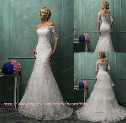 Wholesale strapless wedding dress with half sleeves buttons sheer lace bolero Appliques stack up detach tain zipper back trumpet Amelia Sposa
