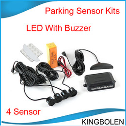 Hot selling 4 Parking Sensors LED Display Car Parking Sensor System with beep voice Car Reverse Backup Radar Kit 10 color choices Post free