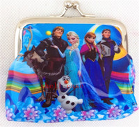 Wholesale Girls Frozen Coin Purse D Cartoon with Iron Button Anna Elsa Olaf Shell Bag Wallet Purses Children Child Hallowmas Christmas Gifts Free DHL