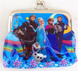 Wholesale Frozen Coin Purse Girls D Cartoon with Iron Button Anna Elsa Olaf Shell Bag Wallet Purses Children Child Hallowmas Christmas Gifts Free DHL