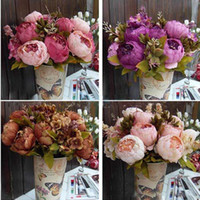 Wholesale 2014 New Bouquet Artificial Peony Silk Flowers Fake Leaf Home Wedding Party Decoration