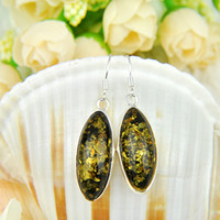 Free Shipping- - 925 sterling silver earrings for lady amber e...