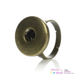 Copper Adjustable Nice Rings Antique Bronze Fit Snaps Nice Buttons 17.5mm(US 7.5),20PCs (B34466)