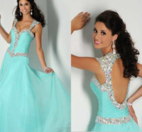 Reference Images backless grad dresses - 2015 Unique Sweetheart Straps Pleated Crystal Beaded Blue Mint Long Prom Dress With Open Back Elegant Sleeveless Backless Party Grad Dress