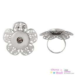 Copper Adjustable Nice Rings Silver Tone Fit Snaps Nice Buttons 18.3mm(US 8),10PCs (B37568)
