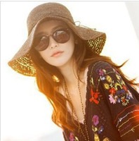 Wholesale Fashion Sun hats Summer Large Brimmed Straw Hats For Women Folding Beach Cap MOQ for