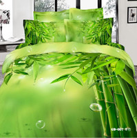 100% cotton sheet - 3D Green Bamboo Comforters Bedding Sets Queen King Size Cotton Fabric Quilt Duvet Cover Flat Fitted Bed Sheet Pillowcase