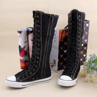 Wholesale S5Q Women Girl Punk EMO Rock Gothic zip Lace up Canvas boot shoe sneaker knee AAACSS