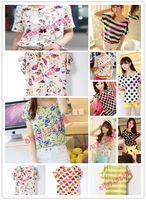 Wholesale Patterns printed chiffon unlined upper garment Women Colorful Short Sleeve shirts Batwing Loose Chiffon Blouse