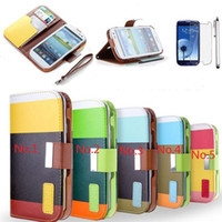 For Apple iPhone Leather with Stand Holder Flip Leather Case Cover Wallet Card Holder Cases with PU Money Slots for Samsung Galaxy S4 I9500 S5 Note 2 3 iphone 5 5S 4 4S iphone5 DHL