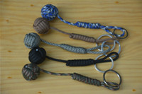 ball chain lanyards - B039 Black Monkey Fist Steel Ball Bearing Self Defense Lanyard Survival Key Chain