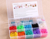 Wholesale loom kit for Kids DIY bracelets Wristband Bands hooks loom Clip Charms instruction clear plastic box