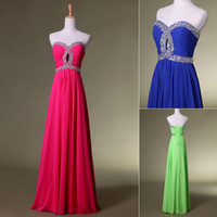 Reference Images Sweetheart Chiffon Sexy Sweetheart Chiffon Blue Lime Green Fuchsia Evening Prom Dresses Beaded A line Floor Length Bridesmaid Party Gowns Cheap In Stock 2014