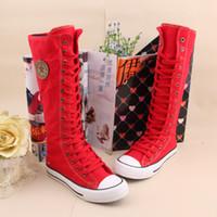 Half Boots Roman Boots Rubber S5Q Women Girl Punk EMO Rock Gothic zip Lace up Canvas boot shoe sneaker knee AAACSS
