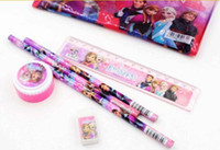 Wholesale set Frozen pencil Stationery gift school supplies pencil case ruler sharpener eraser kid gift