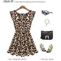 Reference Images women dress drop ship - Drop Shipping Women Summer Dress Vintage Ruffles Sleeve Sundress Leopard Loose Casual Mini Dress