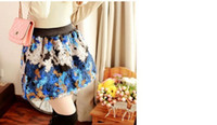Wholesale 2014 Promotion Hot Sale Korean Style High Waisted Skirts Vintage Flowers Woolen Dresses Joint Short Length Lower Garments Colors Free Size