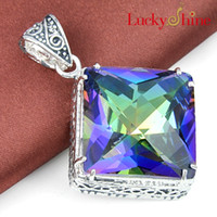 Free shipping - - - 925 sterling silver plated square pendant n...