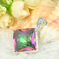 Wholesale 2015 Direct Selling Limited Colares Ruby Jewelry Hugo Holiday Jewelry Gift lucky Square Mystic Topaz Silver Pendant P0040
