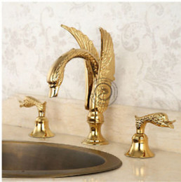 Wholesale Luxury Golden Brass Bathroom Basin Faucet Dual Handles Swan Sink Mixer Tap