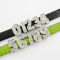 Wholesale 100PCS per Rhodium Plating Alloy Rhinestone Slide Numbers Charms Fit for mm PU Imitation Leather Bracelet