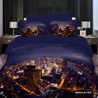 Wholesale 3D Vivid City Night View Comforters Bedding Sets Queen King Size Cotton Fabric Quilt Duvet Cover Flat Fitted Bed Sheet Pillowcase