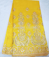 Wholesale Made in China flower tower design bright yellow silk george lace and high quality african cotton fabric