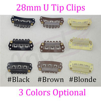 Hair Extensions Tools bag clips - bag mm U Tip weave snap Clips with silicone for wig Hair Extension Black Blonde Brown Optional