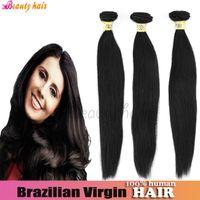 Wholesale Straight Brazilian Virgin Hair Weave Hair Weft Bundle g Full Head Natural Color B Unprocessed Natural Human Hair Bulk Online