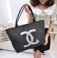 Shoulder Bags rhinestone handbags - Hot Selling new arrival high quality brand bag lady s women s cc handbag shoulder bag weave cabat totes bag black white silver