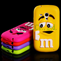 For Apple iPhone Metal Yes Free Shipping 3D Cute Adorable M & M Chocolate Bean Soft Rubber Silicone Snap-On Case Cover For Samsung Galaxy S3 Mini i8190