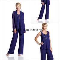 Wholesale Long Sleeve Plus Size Mother Of The Bride Pant Dresses Suits With Jacket Customer Made