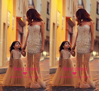Luxurious pearls gold long prom dresses 2014 sweetheart shee...
