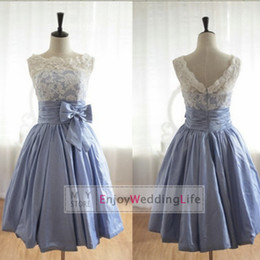 Wholesale 2014 New Sexy Cheap In Stock Sleeveless Taffeta Short Cocktail Dresses Knee Length Lace Junior Bridesmaid Dresses CPS019