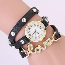100pcs lot Women ladies leather diamond retro chain watch bracelet love stone quartz dress wrist watches wristwatch fashion watch for women