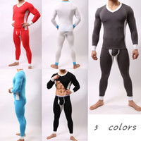 Modal men's underwear - Hotsale new brand fashion men s thermal underwear colors M XLjohn john Neck Modal warm underwear Body sculpting long johns men
