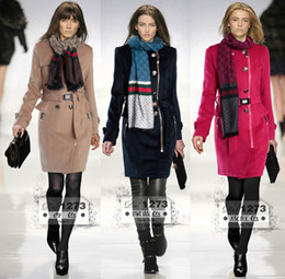 Wholesale Designer Women Double Breasted Wool Coat Elegant Princess Trench coat With Scarf