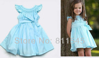 TuTu Summer A-Line Retail 2014 New Arrival Casual Blue Children's Dress for Girl Big Bowknot Fashion Baby Wear Kids Infant Clothes Toddler Clothing