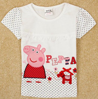 Girl Summer Standard 2014 nova kids summer clothes girls short sleeve t-shirts cartoon peppa pig embroidery cheap tshirts baby white t shirt